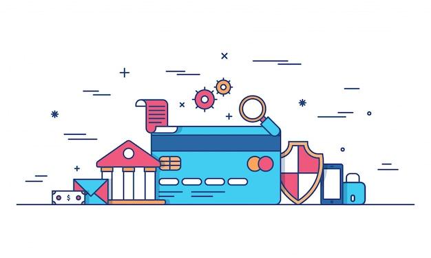 Dinheiro da internet, transação de pagamento seguro, mecanismo de pagamento. fintech (tecnologia financeira) de fundo. ilustração colorida de estilo plano.