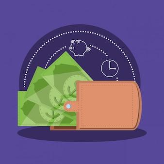 Dinheiro de carteira com ícone isolado de nota de dólar