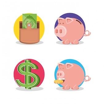 Dinheiro de carteira com poupança porquinho e símbolo de dólar