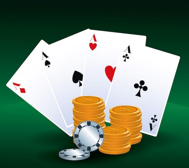 Dinheiro de cartões de pôquer e fichas jogo de apostas cassino