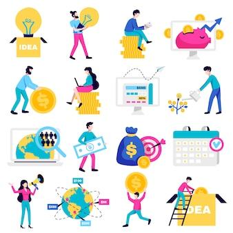 Dinheiro de crowdfunding levantando plataformas de internet para idéias de caridade sem fins lucrativos de inicialização de negócios símbolos coleção de ícones plana ilustração