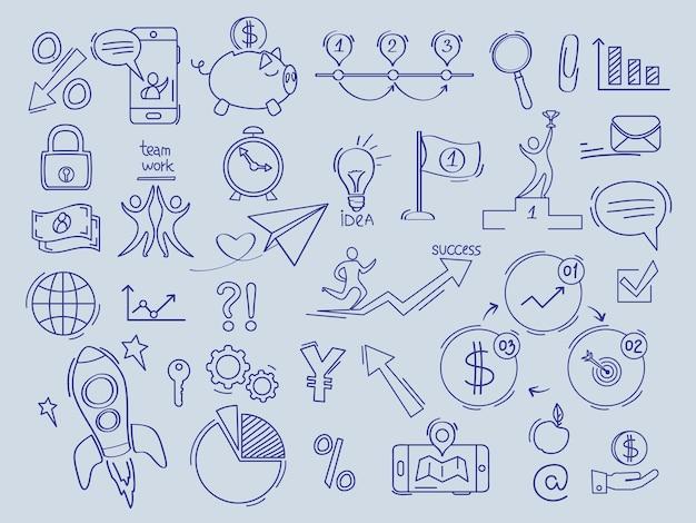 Dinheiro de finanças de investimento em símbolos de banco de documentos de escritório de comércio de vetor coleção de doodles.
