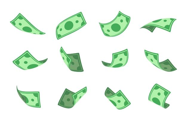 Dinheiro de jack port. notas de dólar caindo de cima objetos isolados em um fundo branco.