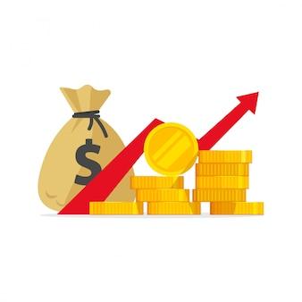 Dinheiro de lucro ou aumento do orçamento dos desenhos animados plana