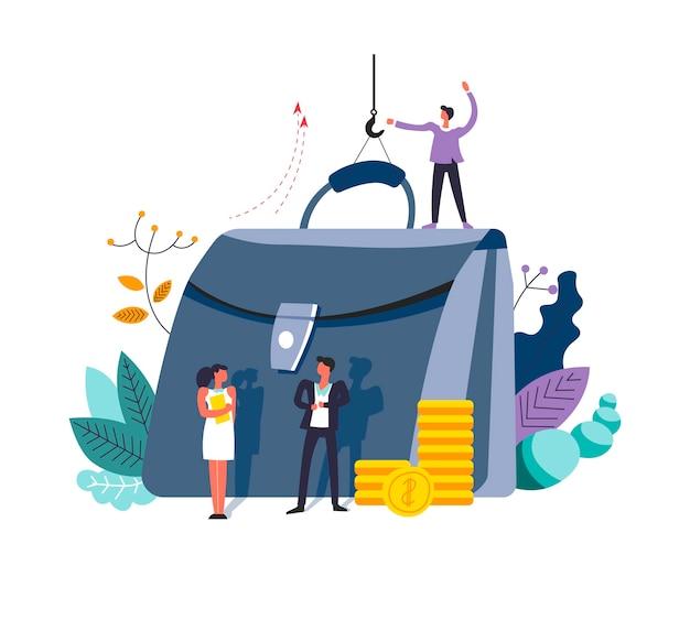 Dinheiro de negócios e idéias de finanças de pessoas