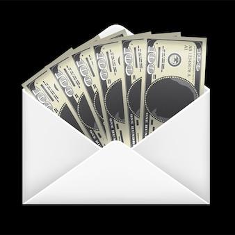 Dinheiro de notas de 100 dólares dentro do envelope branco