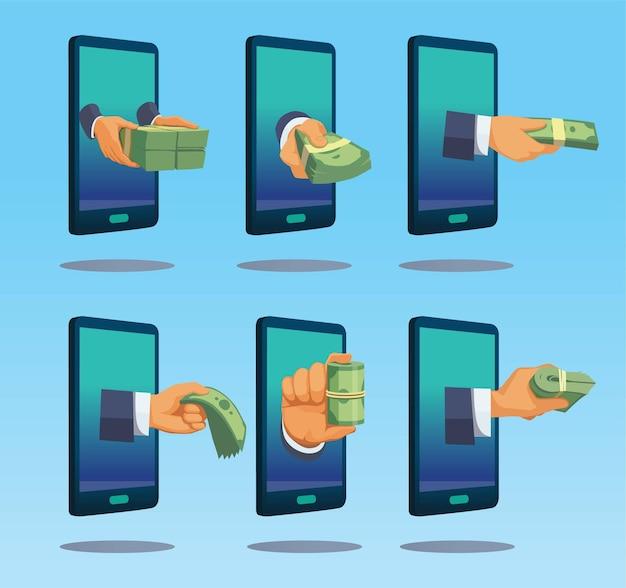 Dinheiro de renda online. ganhe dinheiro transferência online ilustração.