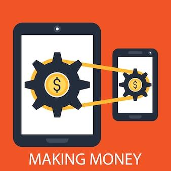 Dinheiro de smartphone fazendo aplicativos