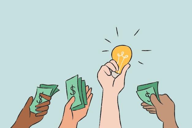 Dinheiro de vetor de doodle de investimento para a ideia