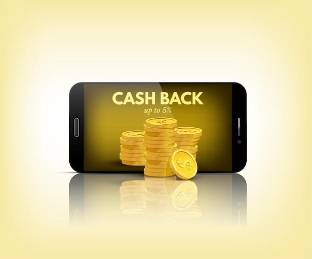 Dinheiro de volta com ilustração conceitual de telefone inteligente com pilha de moedas em fundo amarelo