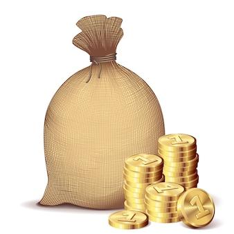 Dinheiro de volta com moedas de ouro em fundo branco