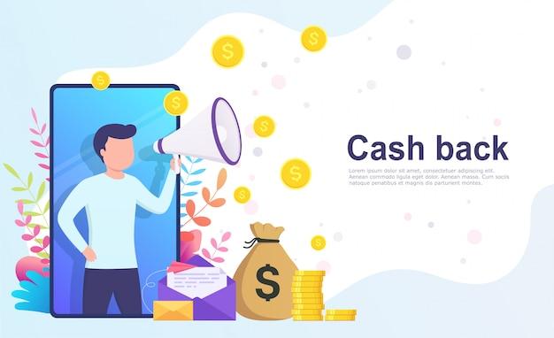 Dinheiro de volta conceito bancário on-line.