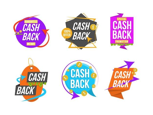 Dinheiro de volta, conjunto de letras coloridas. coleção de banners de cashback. super venda, frases de sucesso, compras, varejo, anúncio. emblemas publicitários para a sua empresa.
