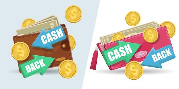 Dinheiro de volta isolado conjunto de adesivos