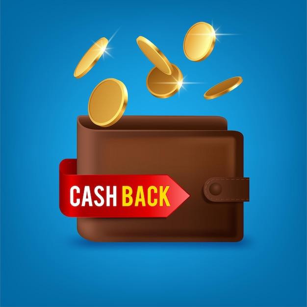 Dinheiro de volta na carteira. ilustração de cashback com moedas