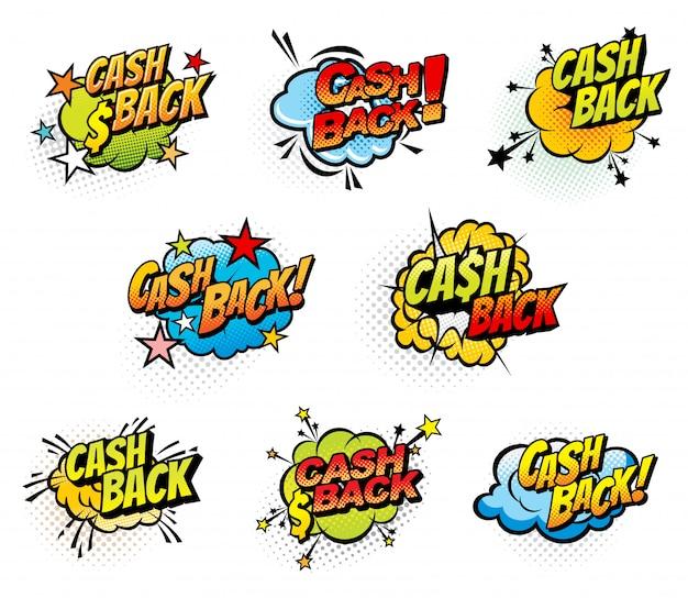 Dinheiro de volta quadrinhos retrô ícones de bolhas