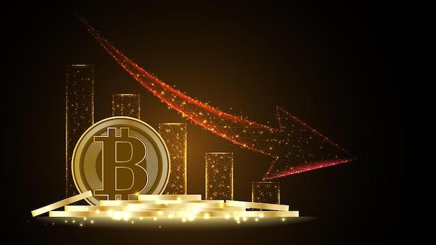 Dinheiro digital da criptomoeda bitcoin com uma pilha de moedas de fundo de tecnologia de rede