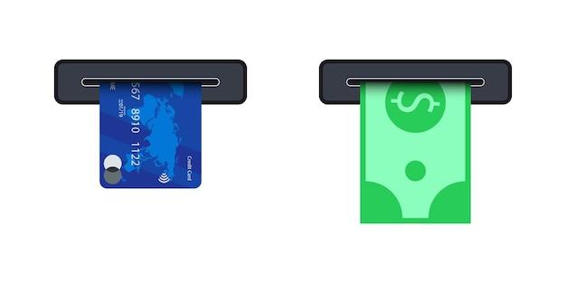 Dinheiro do slot atm. conceito de uso do terminal atm. empurrando o cartão de crédito para o slot da máquina atm e tirando a conta de dinheiro dele. caixa eletrônico do banco, terminal de pagamento