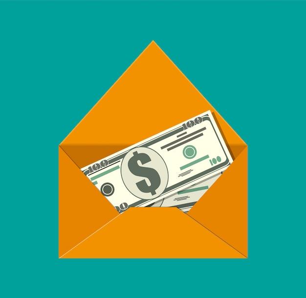 Dinheiro dólar em envelope.