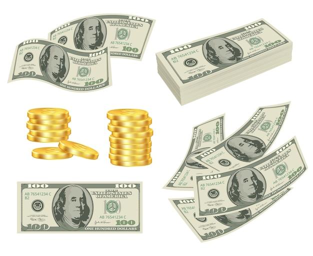 Dinheiro. dólares em dinheiro notas de prêmio de ouro rolo cartões vetoriais imagens realistas de dinheiro. dólar em dinheiro, ilustração de dinheiro em moeda