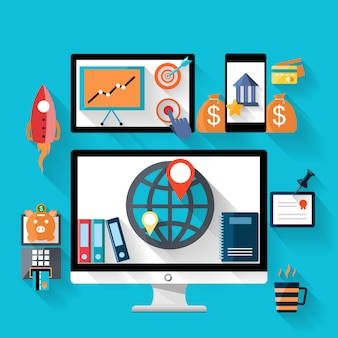 Dinheiro e banco ícone definido no monitor e smartphone dispositivo digital