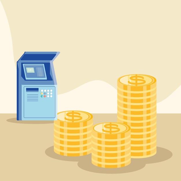 Dinheiro e caixa eletrônico
