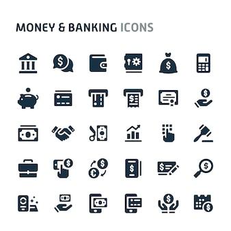 Dinheiro e conjunto de ícones de bancos. série de ícone preto fillio.