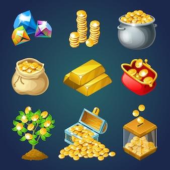 Dinheiro e ouro para jogo de computador.