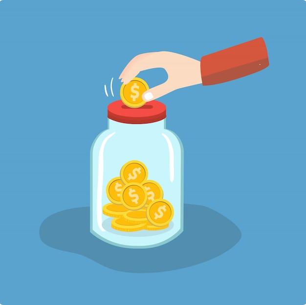 Dinheiro economizando no frasco de vidro