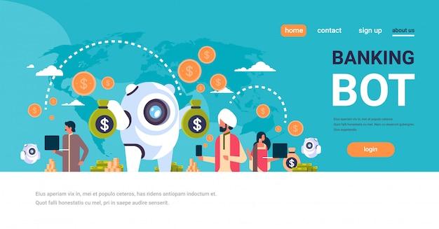 Dinheiro eletrônico bancário bot índios usando banner de pagamento eletrônico