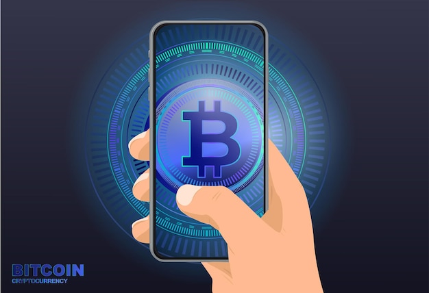 Dinheiro eletrônico bitcoincriptomoeda ícones digitais de moeda global telefone na mão com moeda