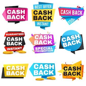 Dinheiro em dinheiro de volta etiquetas