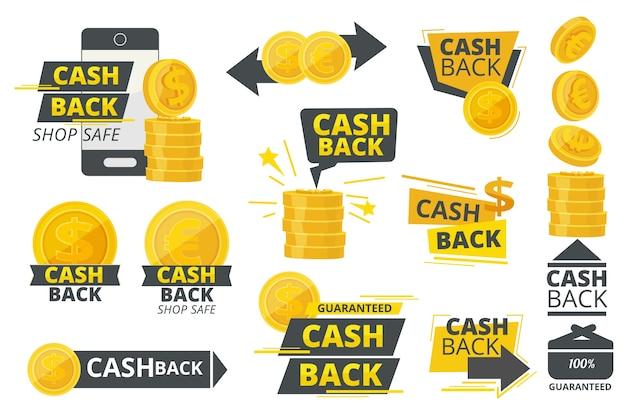 Dinheiro em dinheiro de volta. serviço de oferta promocional especial para coleta de adesivos ou crachás de mercados.