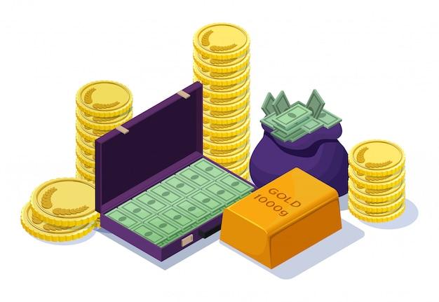 Dinheiro em dinheiro definido com barra de ouro