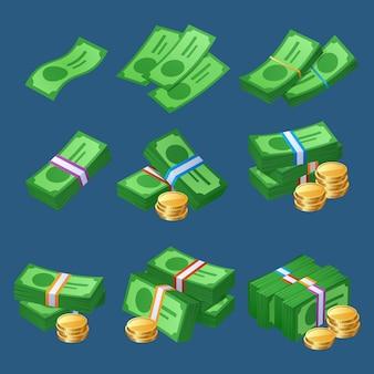 Dinheiro em espécie com pilhas de moedas e pacotes de notas