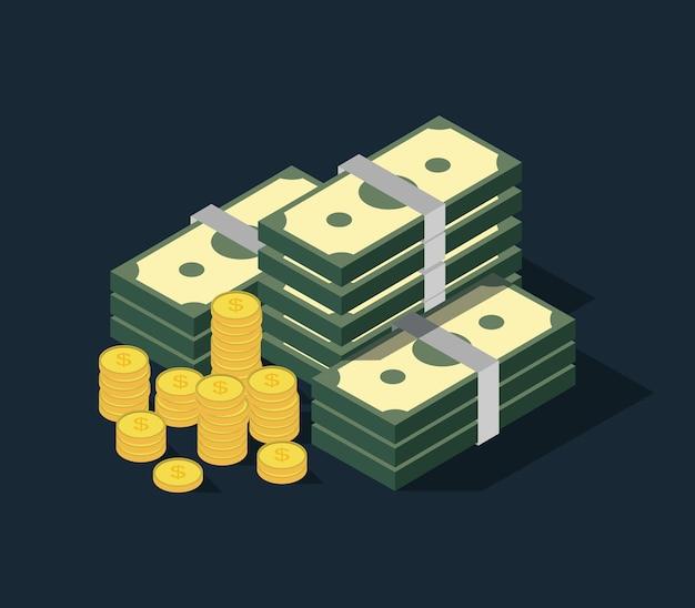 Dinheiro em notas isométricas