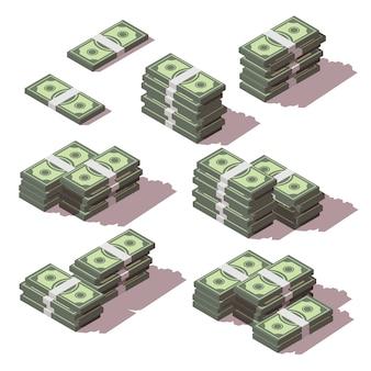 Dinheiro empilhado com conjunto de ícones de lados diferentes