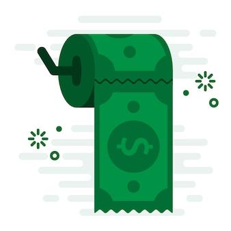 Dinheiro fácil apoio papel higiênico ilustração em vetor conceito financeiro