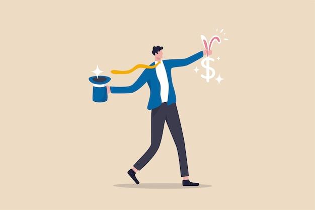 Dinheiro fácil surpresa investimento de lucro de ações mágico para ser rico, sucesso conceito de economia financeira