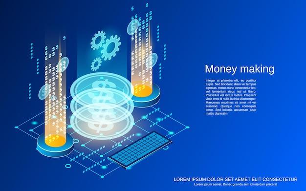 Dinheiro fazendo ilustração plana 3d do conceito de vetor isométrico