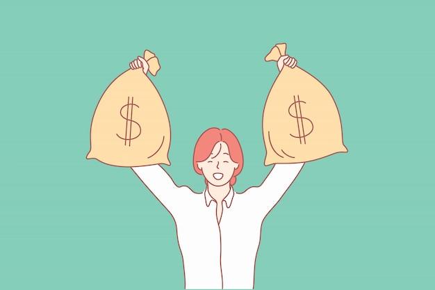 Dinheiro, ganhar, capital, investimento, crédito, conceito do negócio