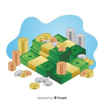 Dinheiro isométrico salvando o fundo do conceito