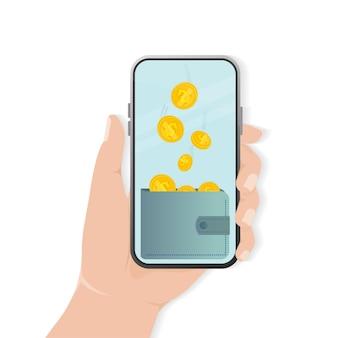 Dinheiro liso de volta com smartphone para design de aplicativo móvel.