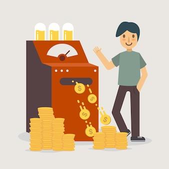 Dinheiro, máquina, criando, dinheiro