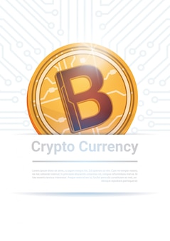 Dinheiro moderno da web da moeda de digitas bitcoin digital sobre o fundo branco com lugar para o texto