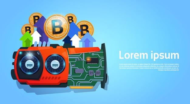 Dinheiro moderno da web da moeda de digitas da micro microplaqueta de bitcoins dourados sobre o fundo azul com espaço para tex