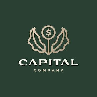 Dinheiro moeda crescimento folha de árvore broto logotipo ícone ilustração vetorial