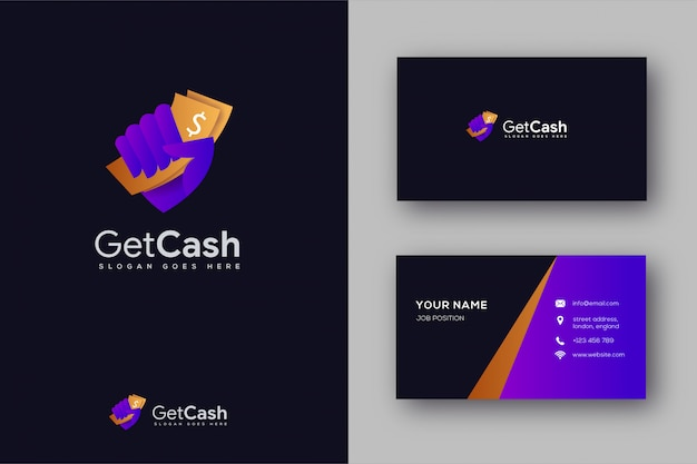 Dinheiro na mão logotipo e cartão de visita