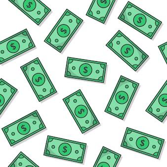 Dinheiro padrão sem emenda em um fundo branco. ilustração em vetor ícone dinheiro de papel