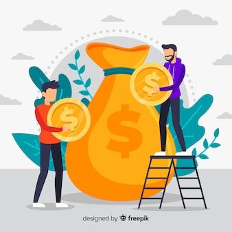 Dinheiro plano salvando o fundo do conceito